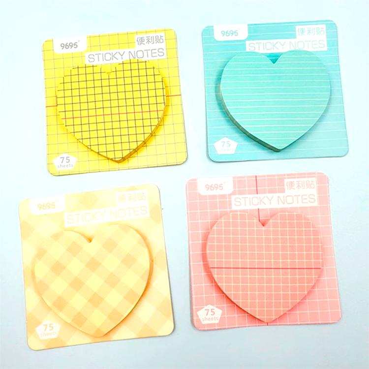 Bloco Anotações Sticky Notes Coração Pastel Listrado / Xadrez / Pautado