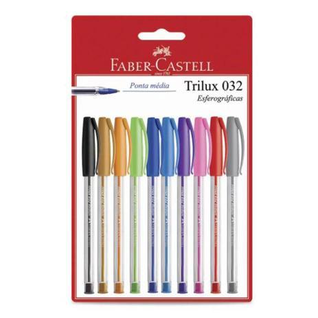 Caneta Esferográfica Trilux 032 Colors C/10 Un - FABER-CASTELL