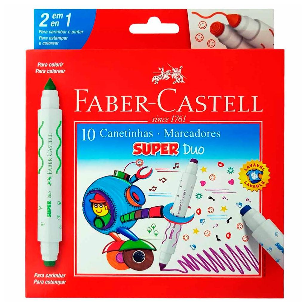 Caneta Marcador Super Duo 10 canetinhas FABER CASTELL