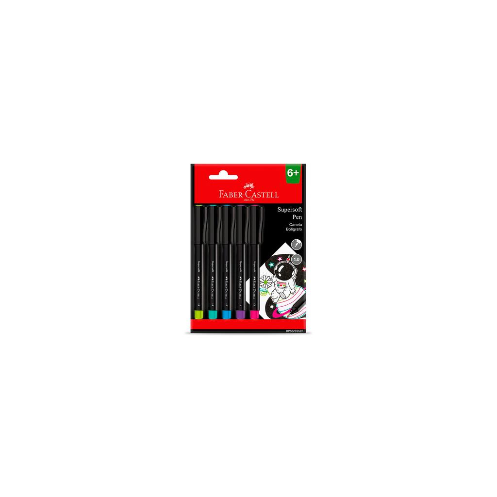Caneta  Supersoft Pen Faber-Castell 1.0mm Cartela com 5 unidades