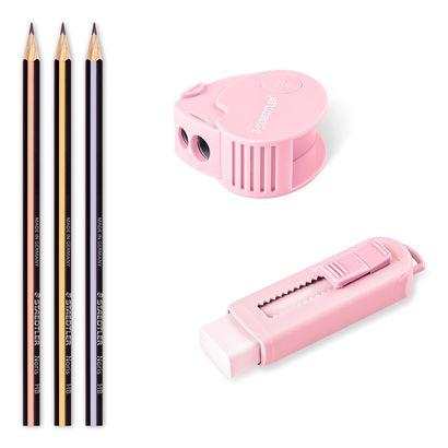 Cj. C/ 3 Lápis + Borracha + Apontador STAEDTLER Pastel