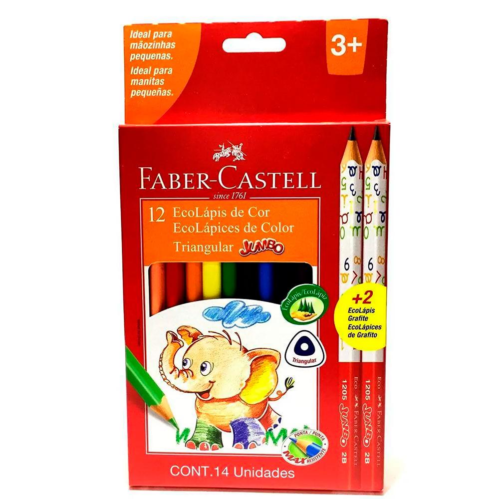 Lápis de cor Triangular Jumbo 12 cores + 2 eco Lápis Grafite -  FABER-CASTELL