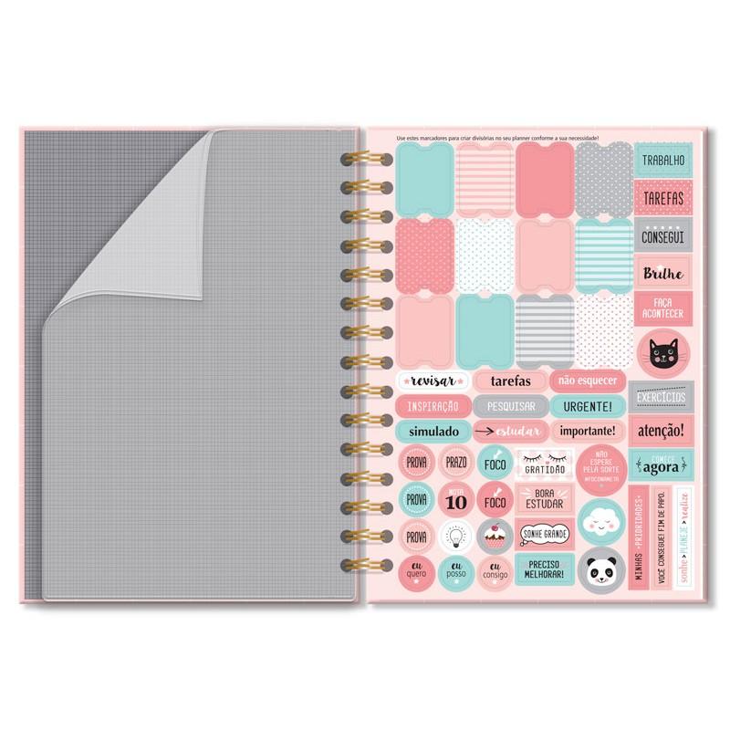 Planner Compacto Mensal Rosa Quadriculado