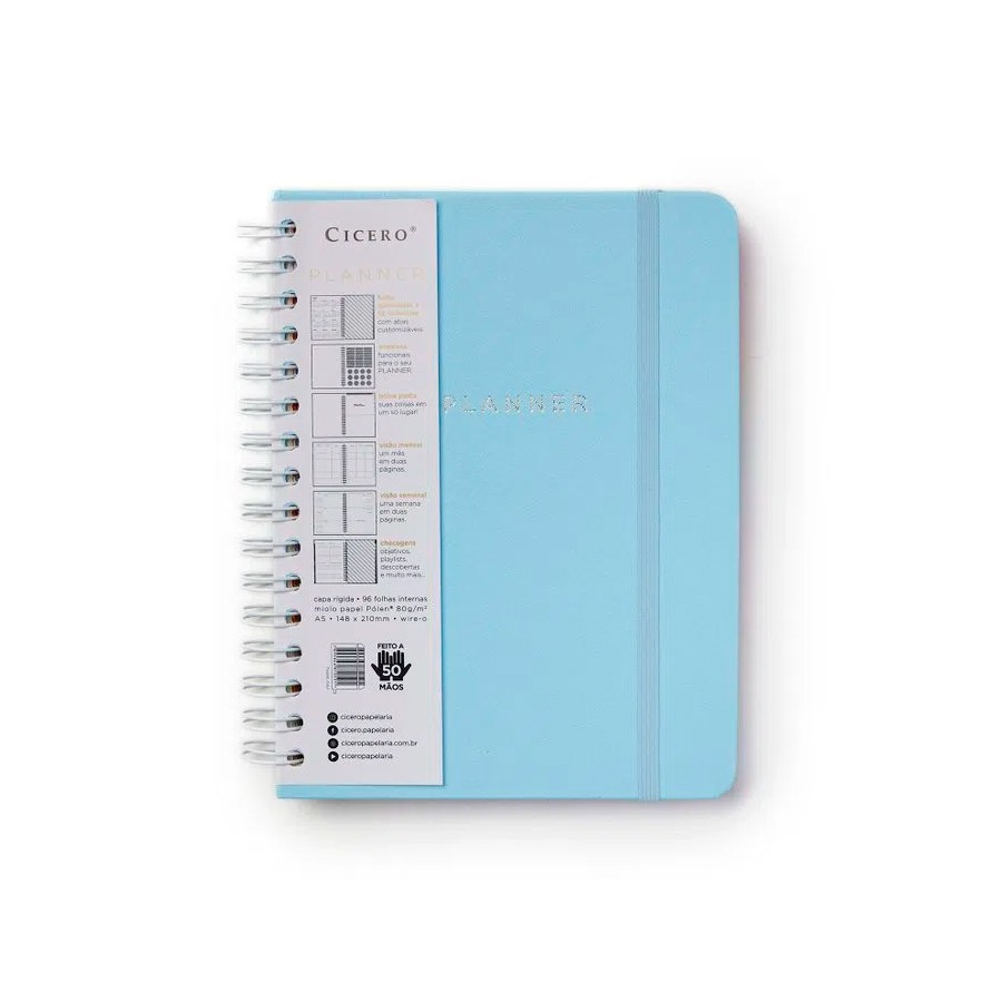 PLANNER WIRE-O PASTEL SEMANAL A5 AZUL
