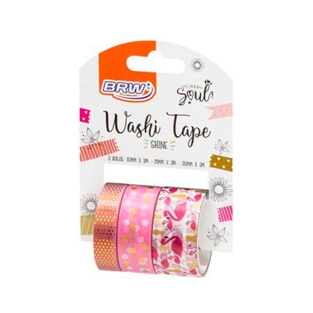WASHI TAPE SHINE FLAMINGO 3UNID - WT403