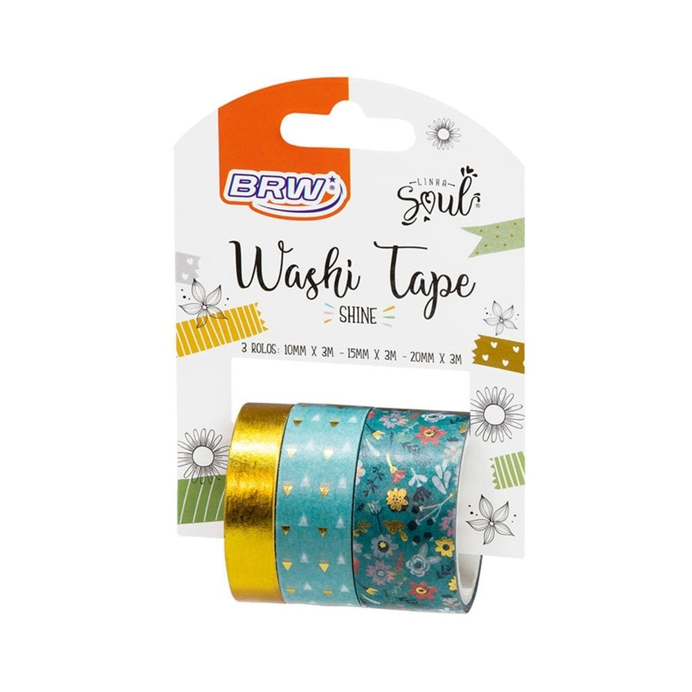 WASHI TAPE SHINE VERDE 3UNID - WT400