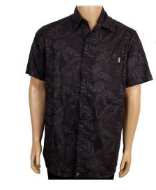 Camisa Botão Básica Folhas Black P