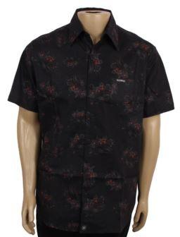 Camisa Botão Básica Rosas Black P