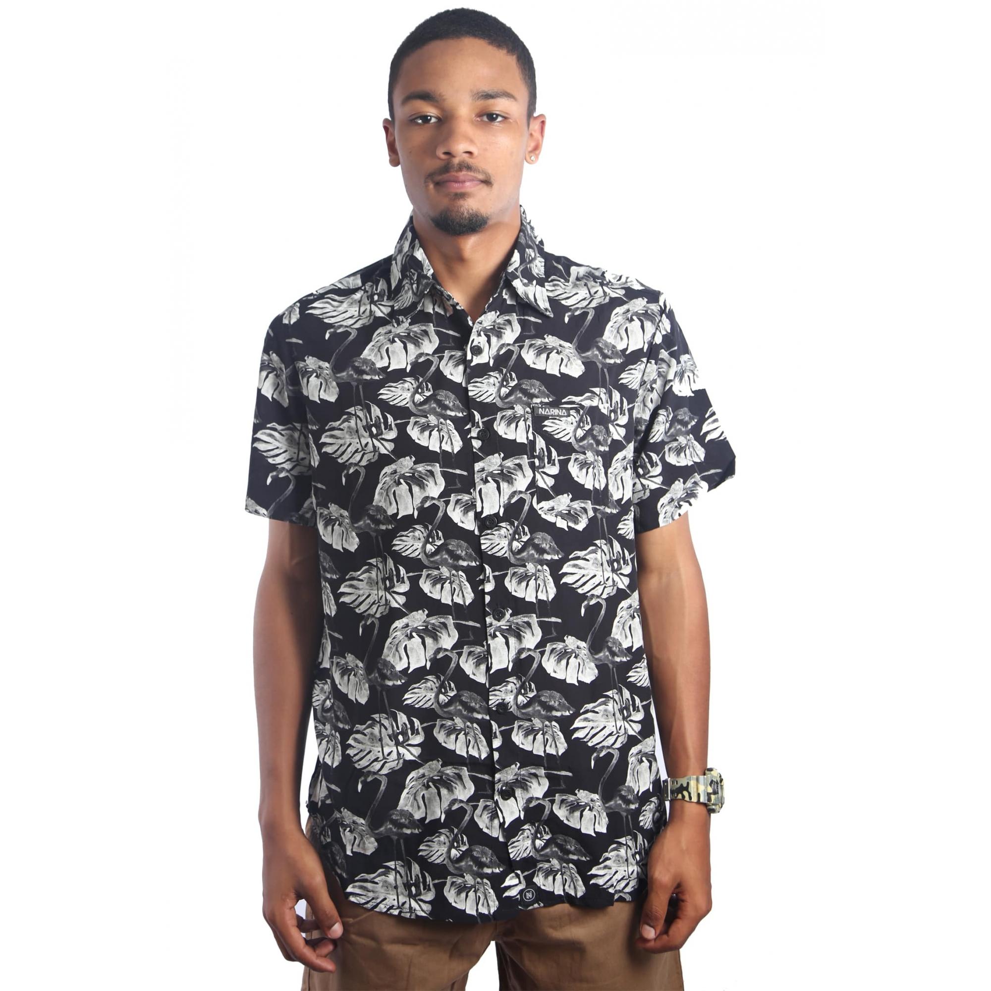 Camisa Viscose Flamingo Black