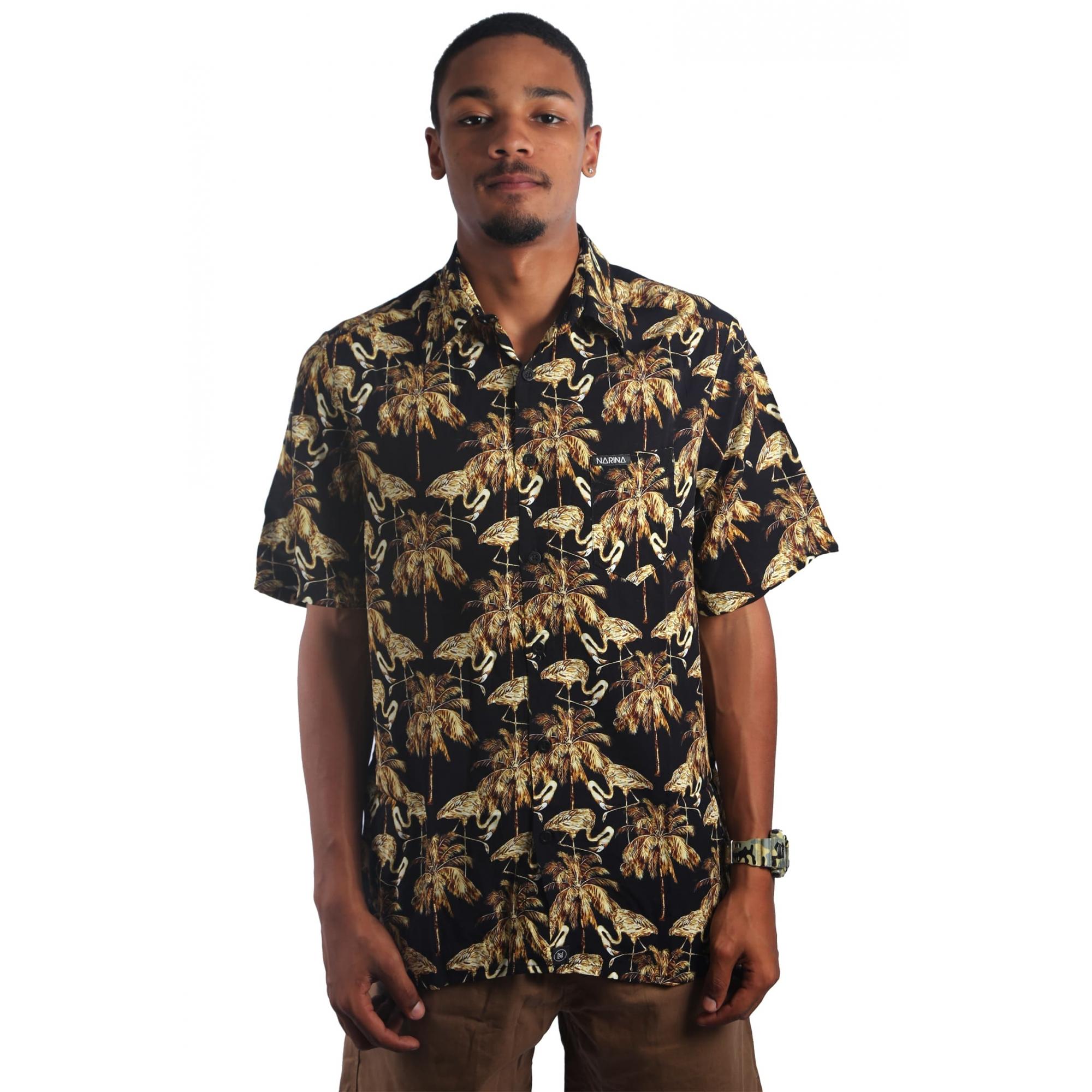 Camisa Viscose Flamingo Gold