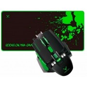 Mouse Game Wesdar Chiropter X6 3200dpi+mouse Pad Preto/verde