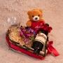 Coração Romântico com Vinho e Taça