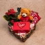 Coração Romântico, Pelúcia, Chocolate e Flor