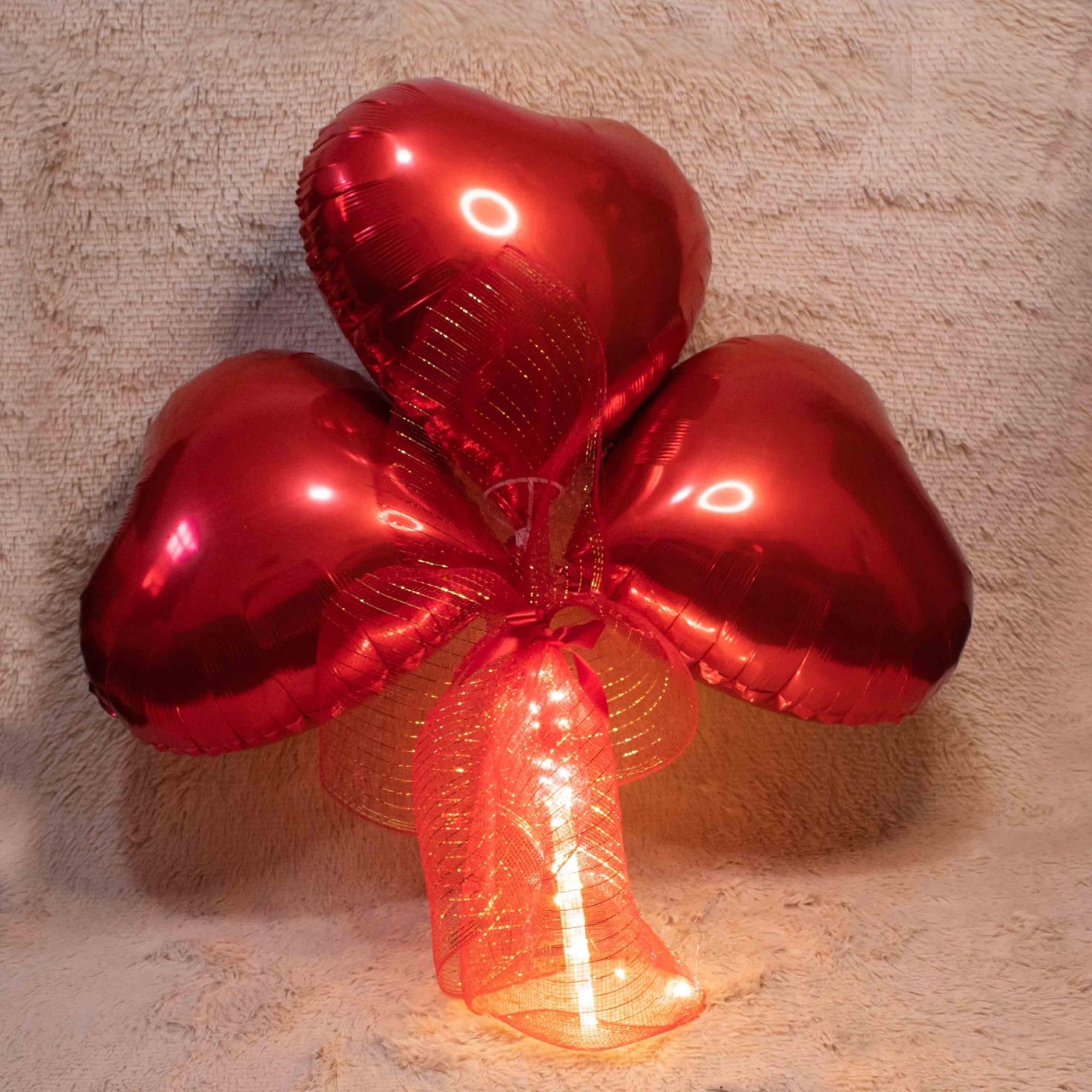 Balões de Coração Com fio de Fada