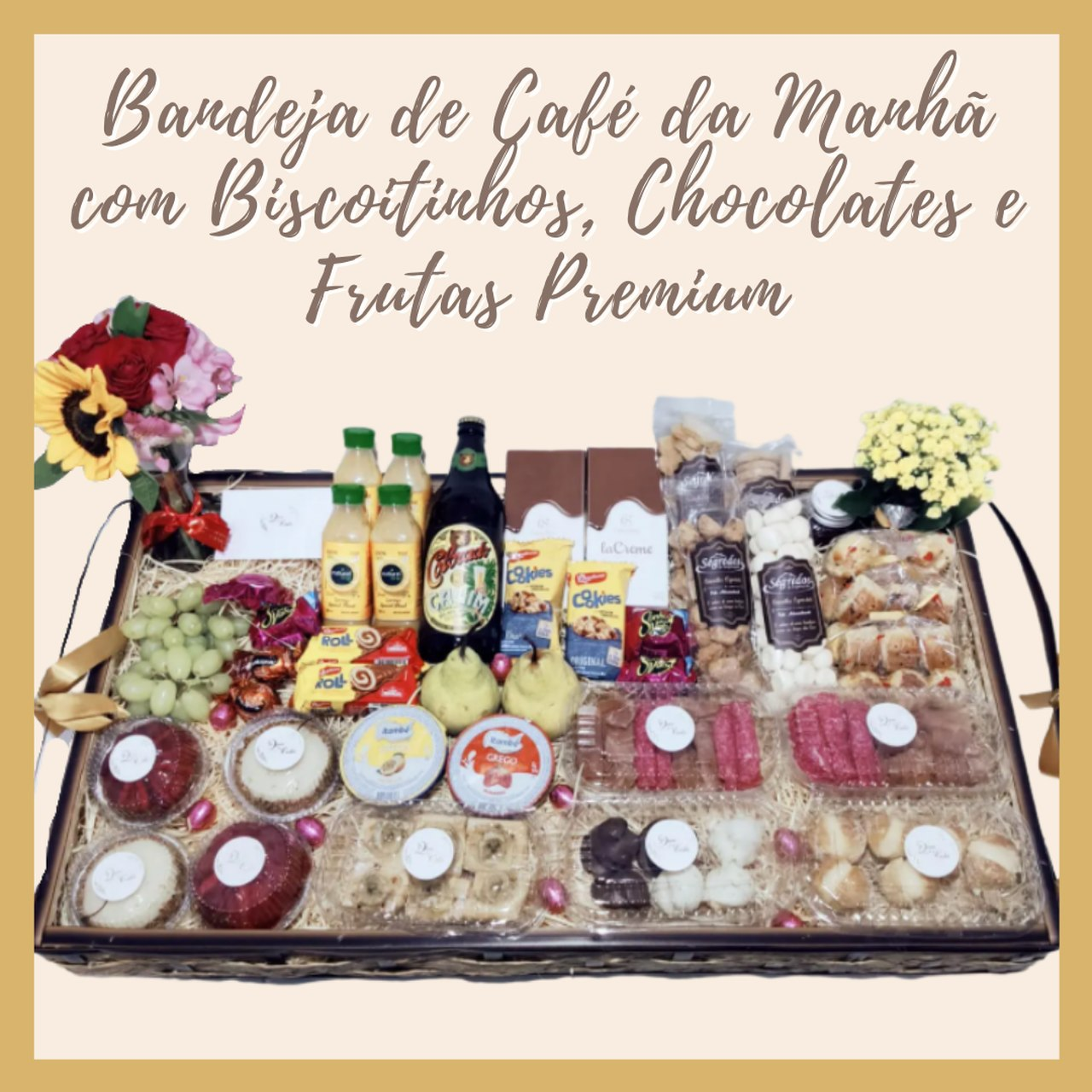 Bandeja de Café da Manhã com Biscoitinhos, Chocolates e Frutas Premium