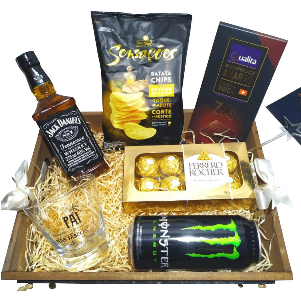 Bandeja (lousa) com Whisky Jack Daniels, Energético e Chocolates
