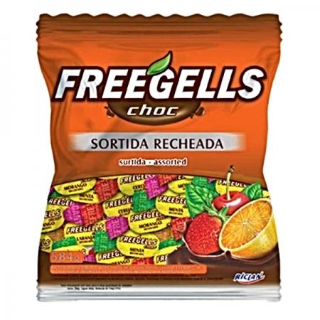 BALA SORTIDA RECHEADA CHOCOLATE FREEGELLS 584G