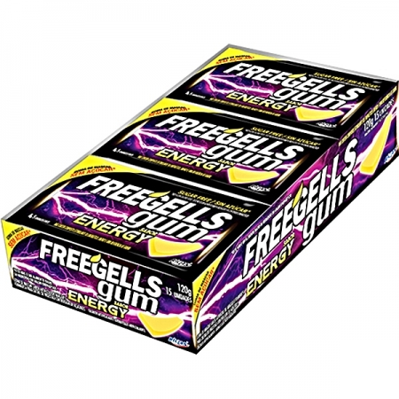 CHICLE FREEGELLS GUM ENERGY 15 UNIDADES 120 G