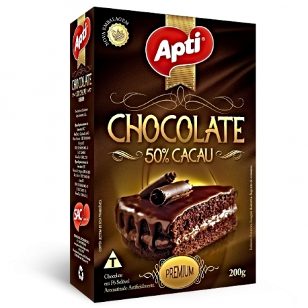 CHOCOLATE PO PREMIUM  200GR APTI 50% CACAU