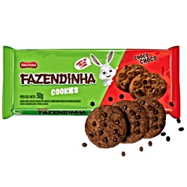 BISCOITO COOKIES CHOCOLATE FAZENDINHA 24 UNIDADES 50GR