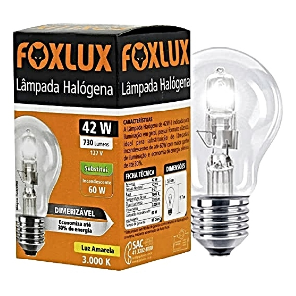 LAMPADA HALOGENA CLASSICA 42W 220V FOXLUX
