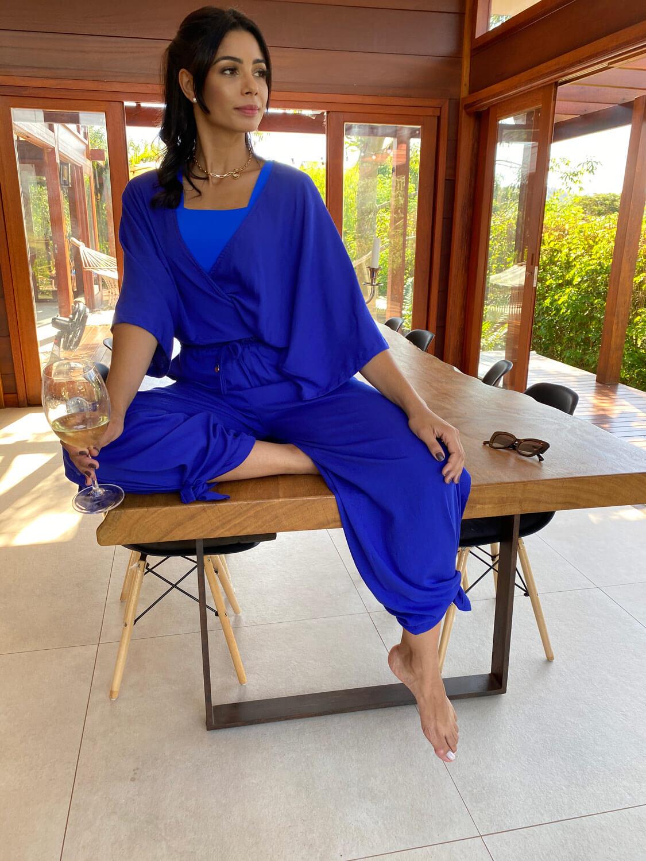 Calça Pantalona Bolso Faca Azul Bic