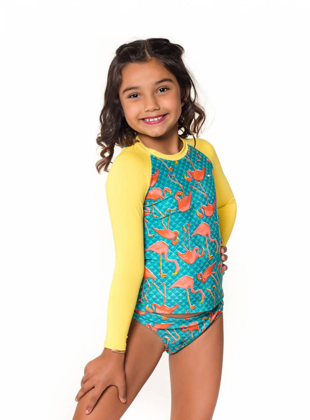 Camiseta Kids UV Proteção Solar Flamingo