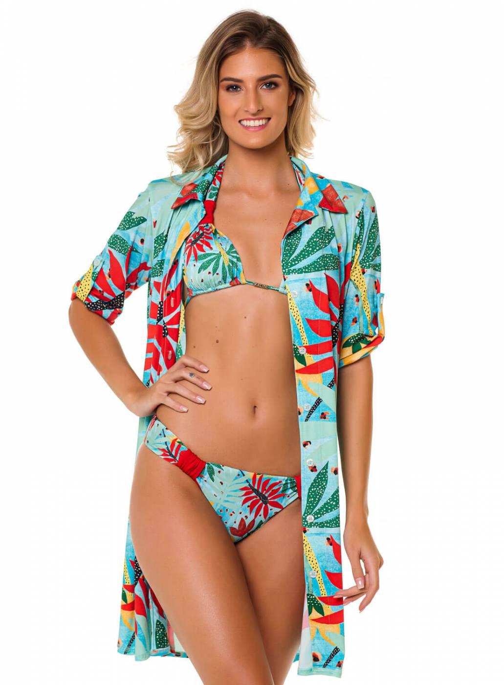 Compre o Look Completo Alto Verão Aruba e Economize Saída Curta Chemise Aruba + Biquíni Cortininha Resort Aruba  Proteção uv50+