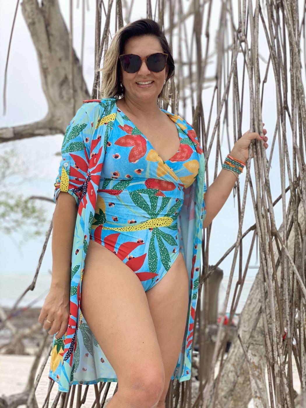 Compre o Look completo & economize : Maiô Premium Aruba + Saída de Praia Chemise uv50+ PRO