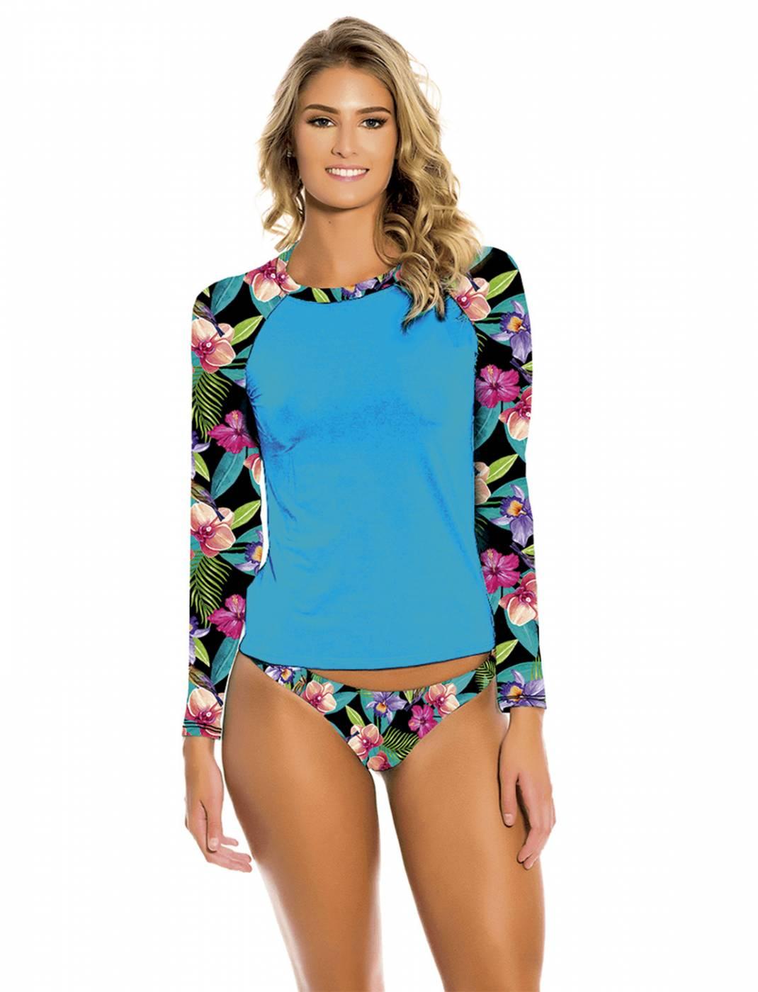 Conjunto Camisa e Calcinha UV Blue Flowers