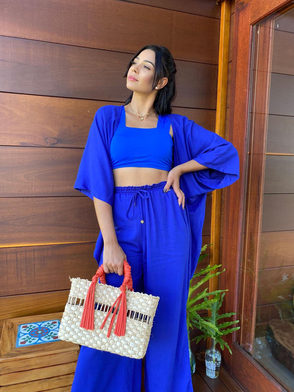 Conjunto Resort Kimono com Top Reto  e Pantalona Azul Bic | 3 Peças |