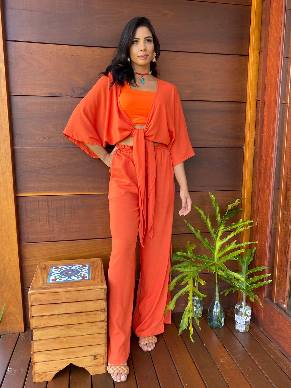 Conjunto Resort Kimono com Top Reto e Pantalona Dubai | 3 Peças |