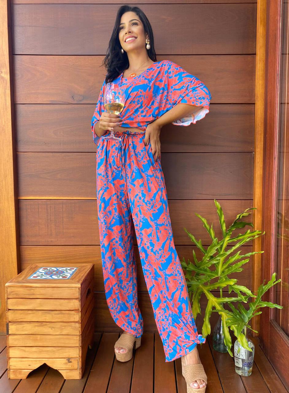 Conjunto Resort Kimono com Top Reto  e Pantalona Fresh | Proteção uv50+
