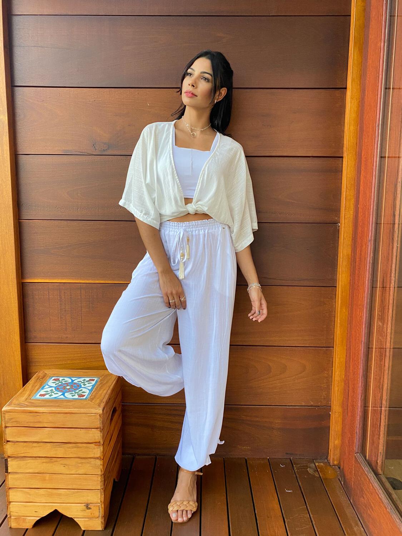 Conjunto Resort Kimono com Top Reto  e Pantalona OFF | 3 Peças |