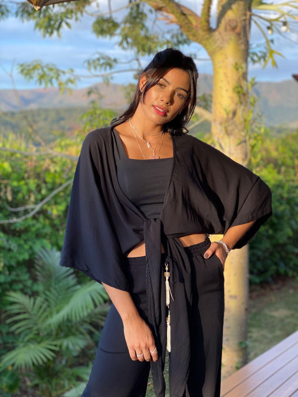 Conjunto Resort Kimono com Top Reto  e Pantalona Preto | 3 Peças |
