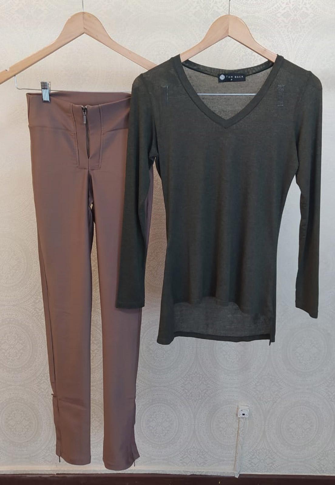 Blusa Moss Verde + Calça Basic Bronze