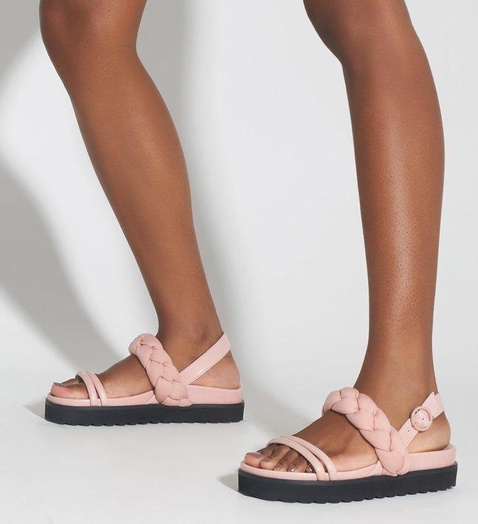 Sandália Plataforma Couro Trança Rosa