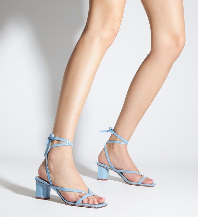 Sandália Block Heel Lace-up Blue