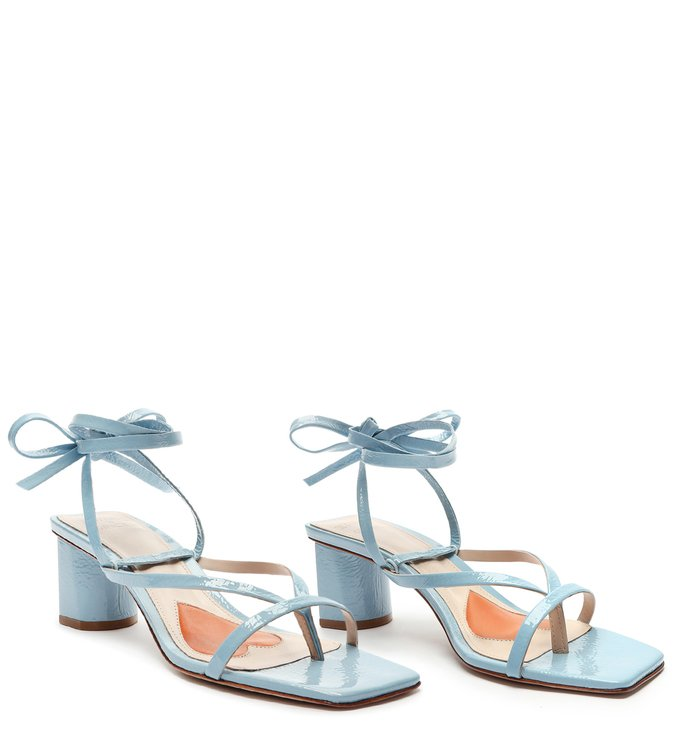 Sandália Block Heel Lace-up Blue
