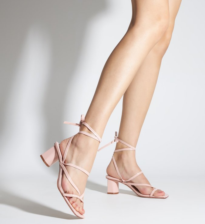 Sandália Block Heel Lace-up Rose