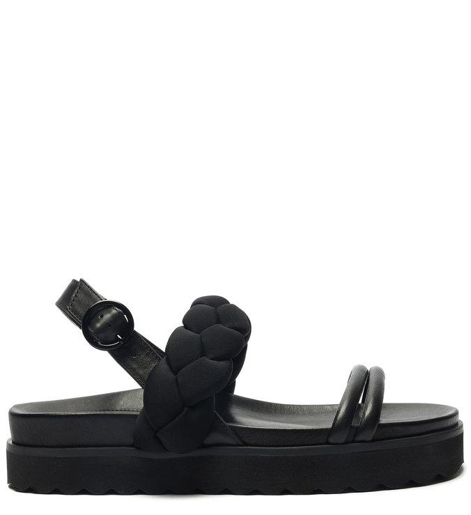 Sporty Sandal Flatform Nylon Trança Preta