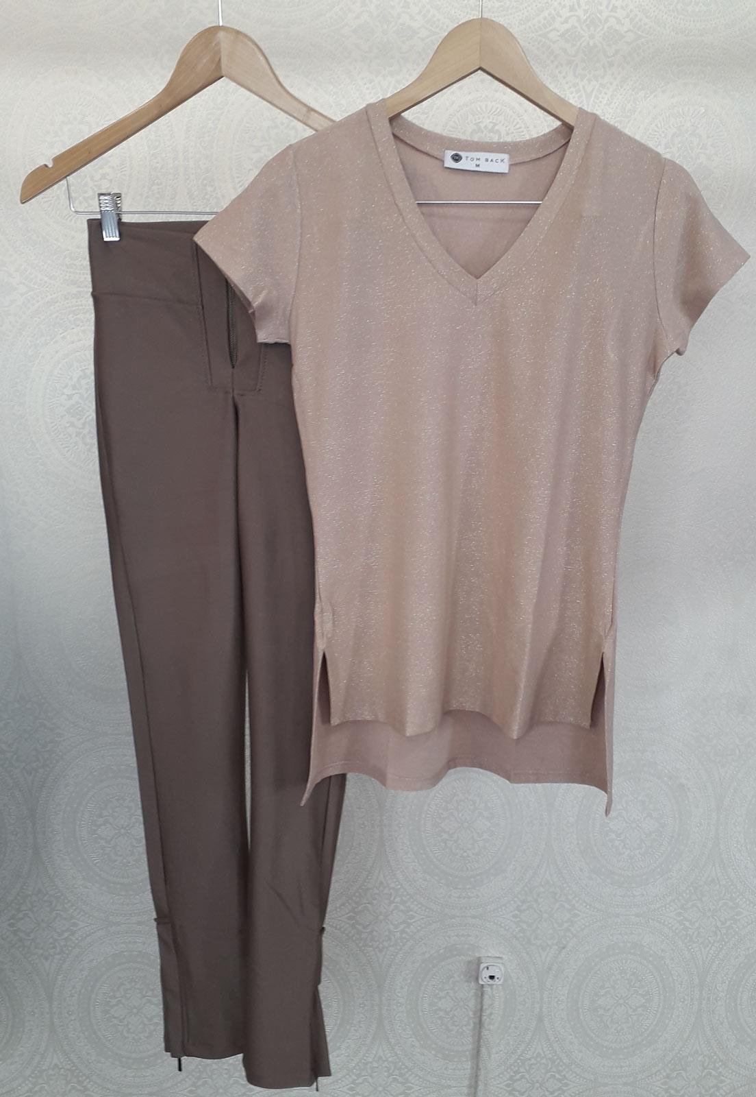 T-shirt Lurex Gold + Calça Basic Prada Bronze