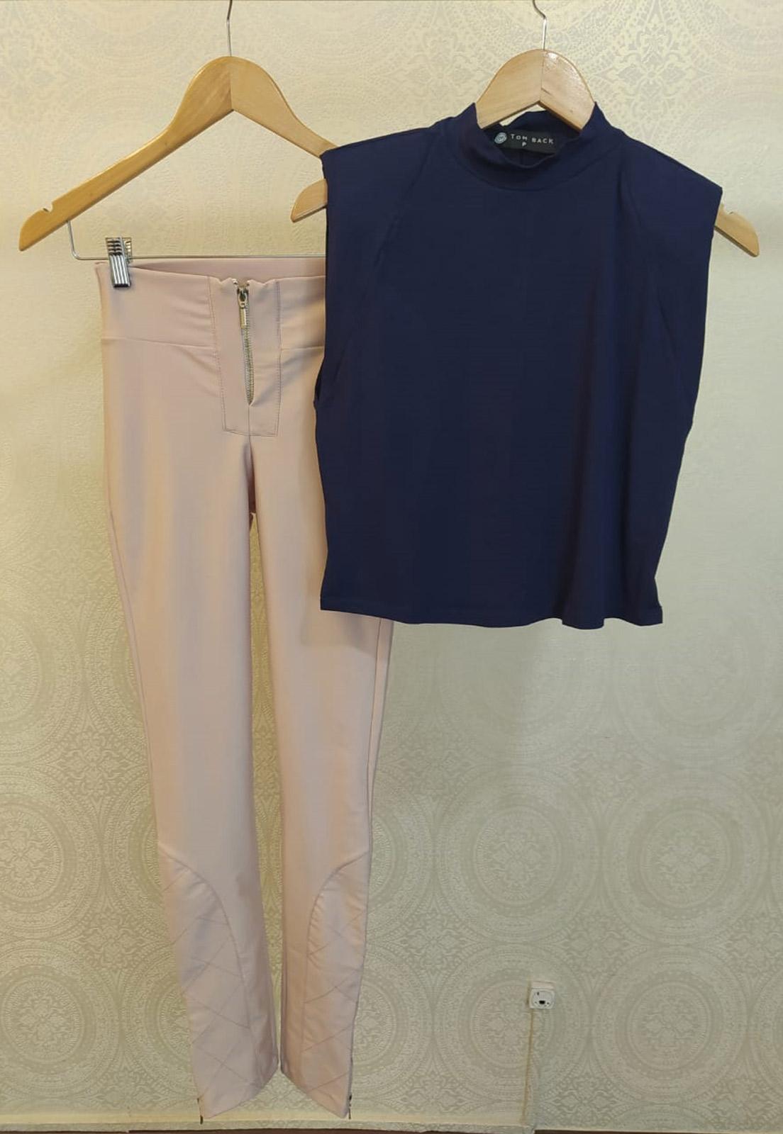 T-shirt Maia Azul + Calça Charme Rosê