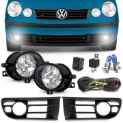 Kit Farol Milha Polo Hatch Sedan 2003 a 2007 Com Grade