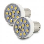 Par Lampada Led Luz Branca 12 Leds Lanterna Ré 2 Polos 5/21W 12V