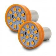 Par Lampada Led Luz Laranja 12 Leds Lanterna Pisca Seta 1 Polo 1W 12V