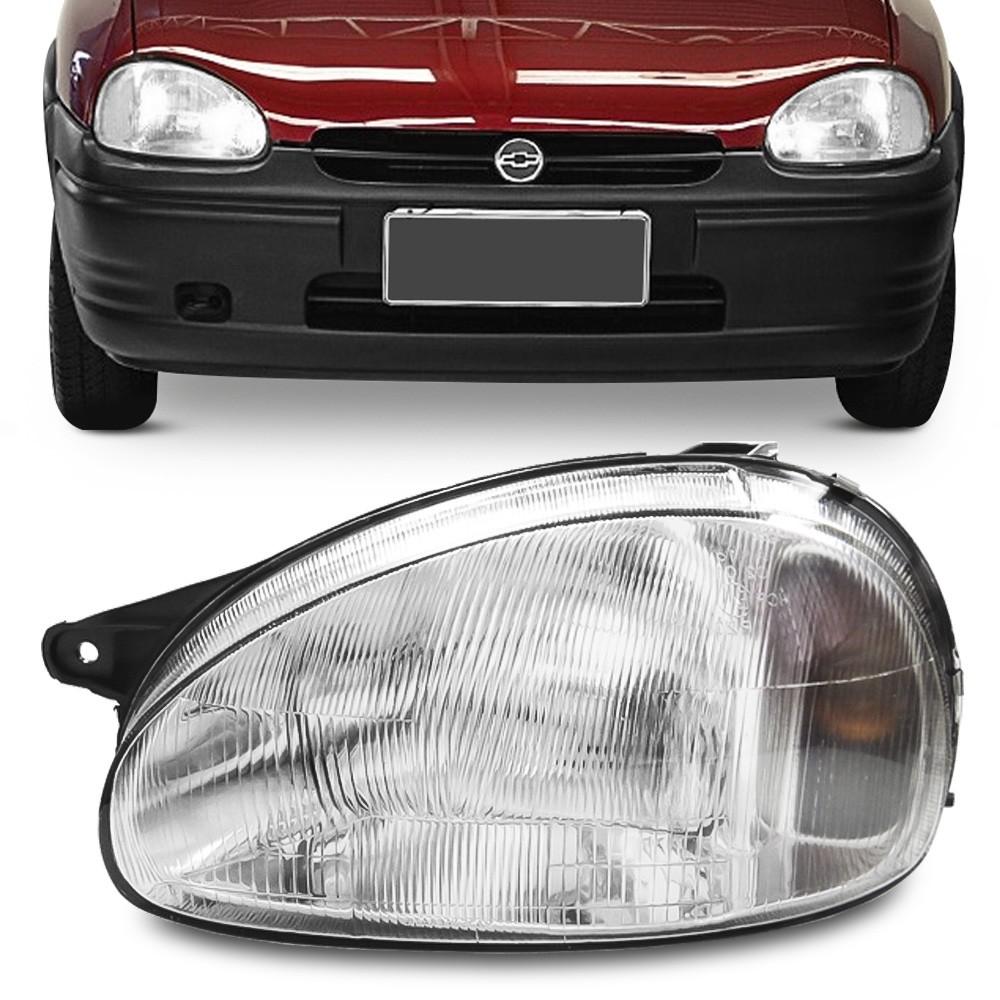 Farol Corsa Hatch Wagon Wind Pick Up 1994 a 1999 Lente Estriada Pisca Ambar