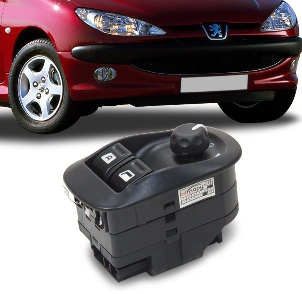 Interruptor Vidro Eletrico Peugeot 206 1999 a 2006 Duplo Motorista Com Retrovisor