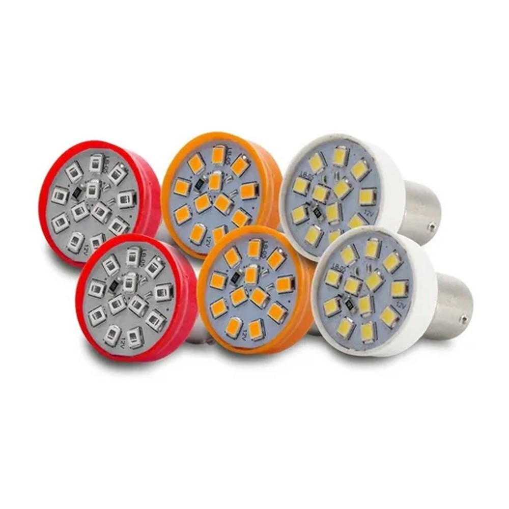 Kit 6 Lampadas Led Luz Branca Vermelha Laranja 12 Leds Lanterna Ré Seta