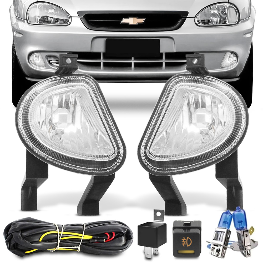 Kit Farol Milha Corsa Hatch Wagon Pickup Sedan 2000 a 2002 Classic 2003 a 2009 Botao Original